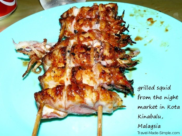 fear of getting sick while traveling - Kota Kinabalu Malaysia grilled squid