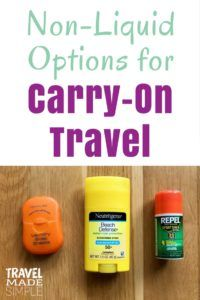Liquids restrictions can put a damper on your efforts to travel carry-on only. But there are tons of solid non-liquid options to help make it easier. Solid perfume, solid shampoo, even solid sunscreen and solid bug repellent are great alternatives to the liquid versions. packing tips | pack carry-on only | flying carry-on only | non-liquid toiletries