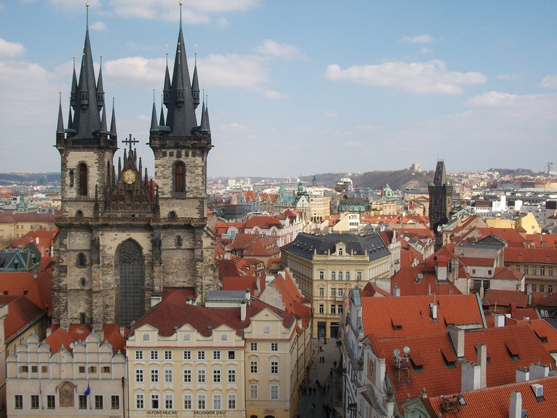 Prague from above: View from Old Town Hall Tower in Prague