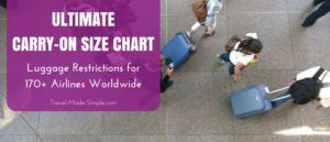 carry-on luggage size chart with over 170 airlines worldwide