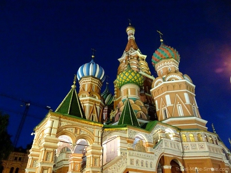 Moscow to St Petersburg cruise review - Moscow Red Square at night