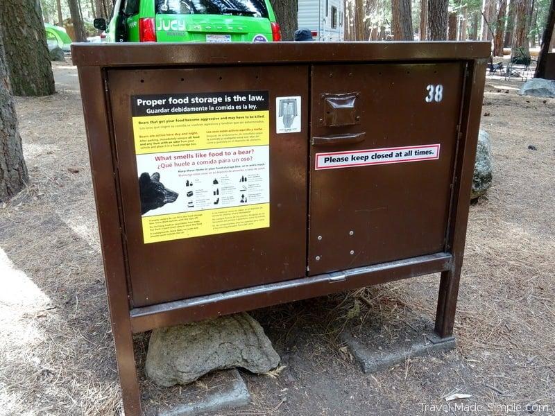 camping on a US road trip bear box tips