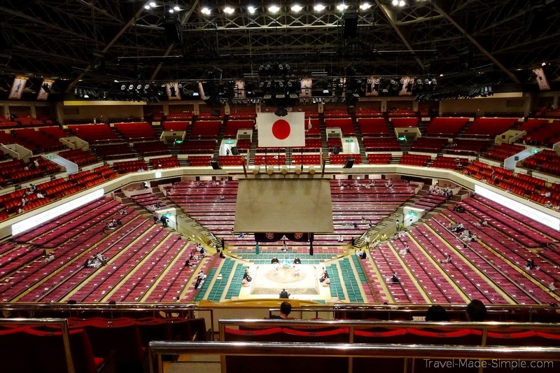 sumo wrestling in Tokyo stadium in morning